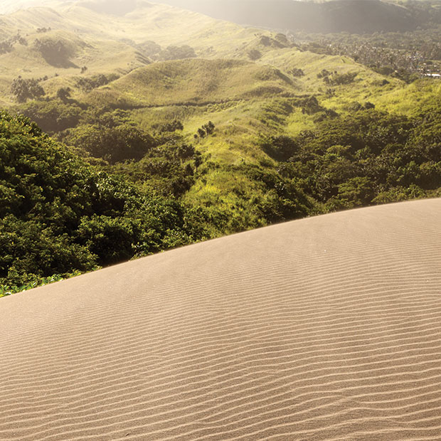 Sand dunes and mountains in Fiji