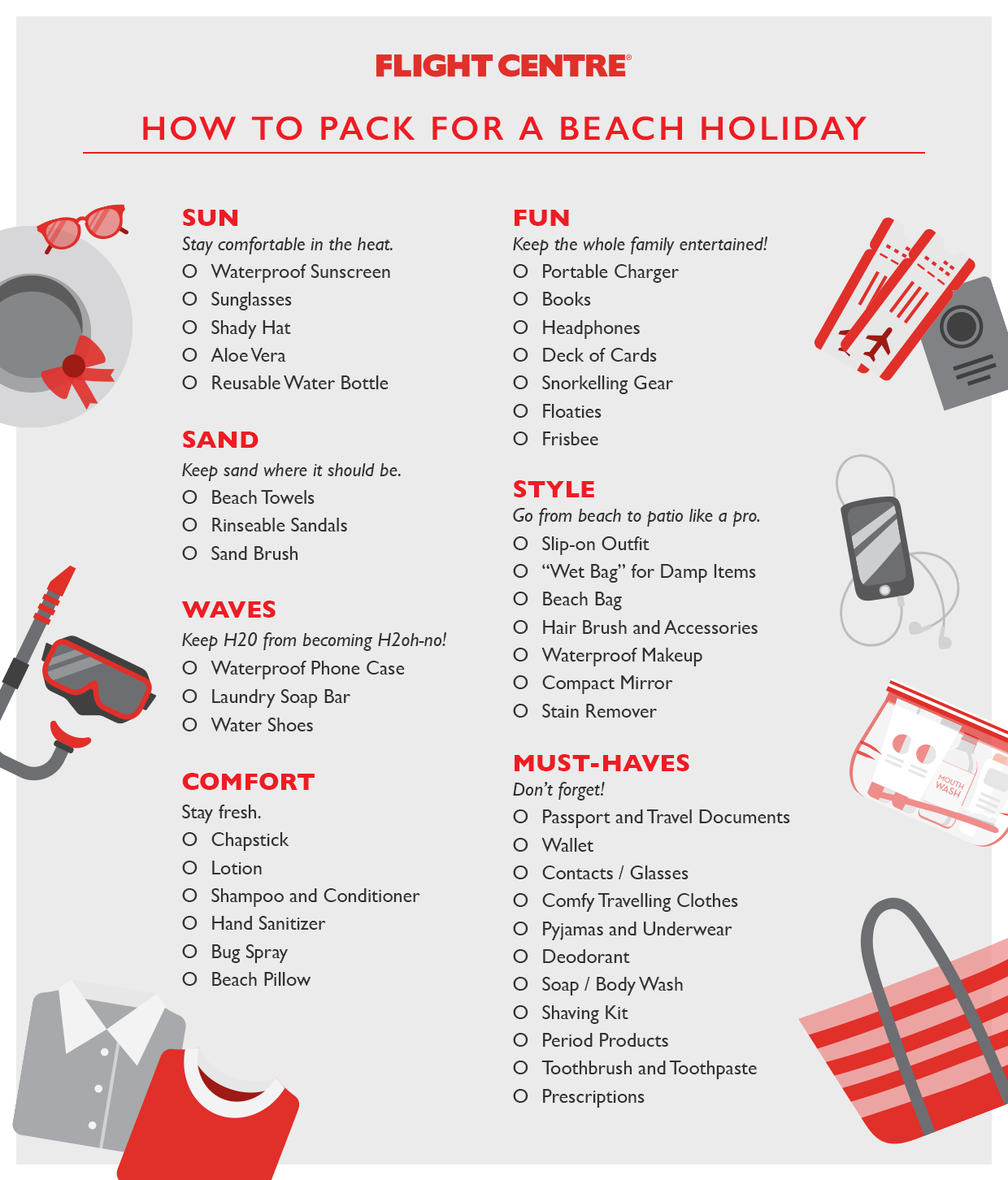The Ultimate Beach Vacation Packing Checklist Flight Centre Travel Blog