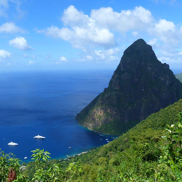 lush greenery and the pitons in st lucia