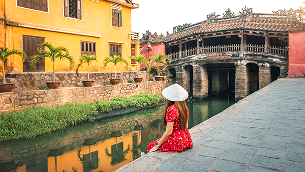 woman on the water in asia