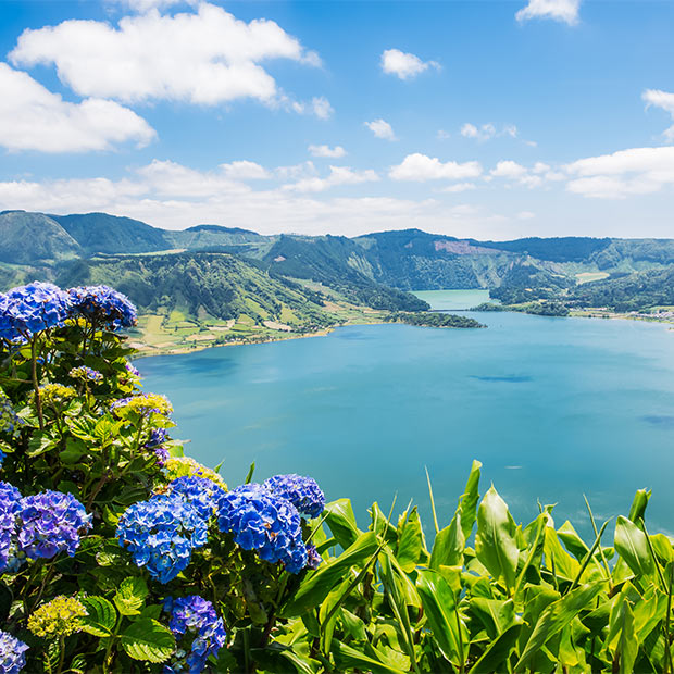 view of the volcanic rim in portugal's azores
