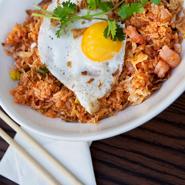 bowl of nasi goreng with egg