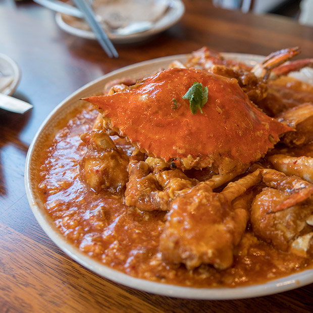 Chilli crab in Singapore hawker stall