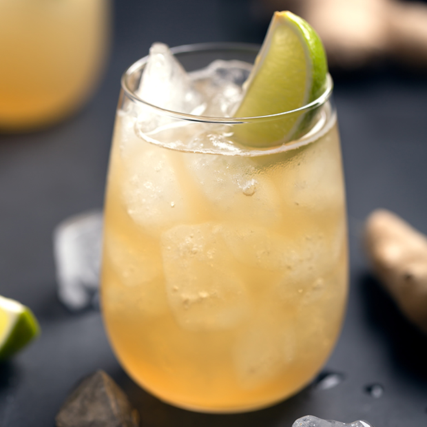 Cold glass of African holiday beverage Ginger Beer