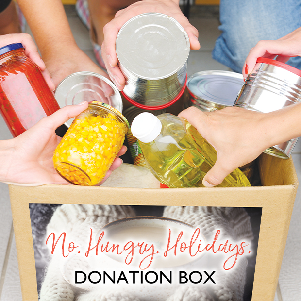 people place non perishable food items into flight centres no hungry holidays donation box