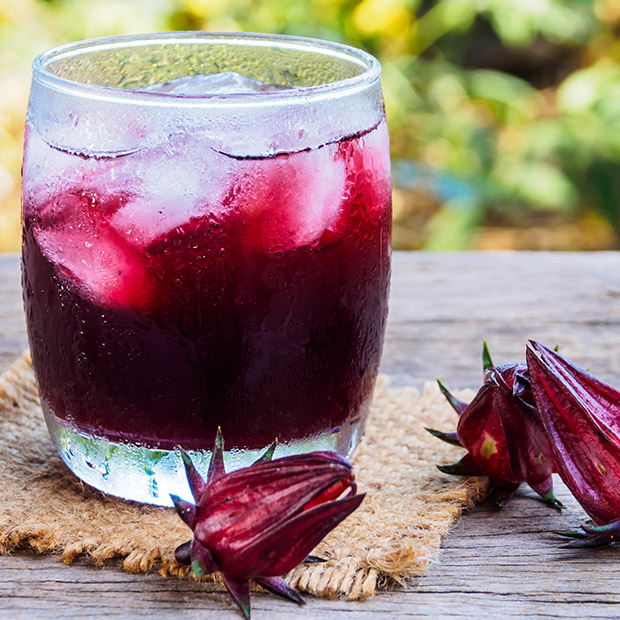 Glass of Caribbean holiday beverage Sorrel Punch