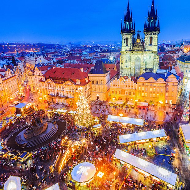 christmas market stalls in prague town square