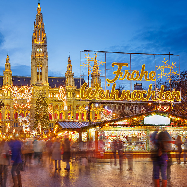 bright christmas lights at vienna christmas market