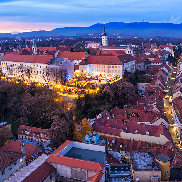 christmas market in zagreb at dusk