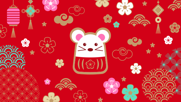 cute illustrated rat surrounded with chinese new year lanterns