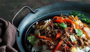 pot of ropa vieja cooking