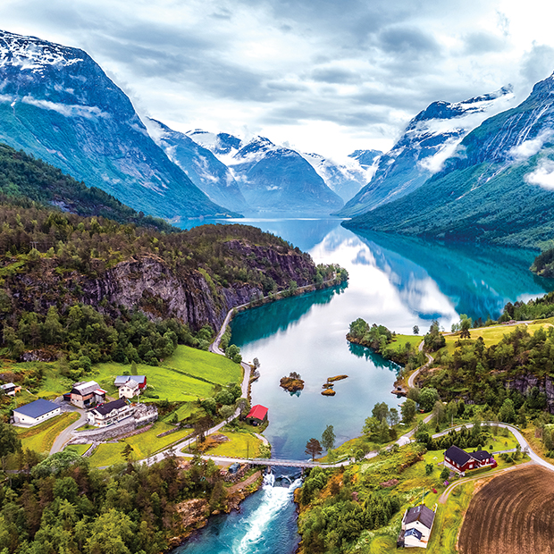 a birds eye view of scenic fjords in norway