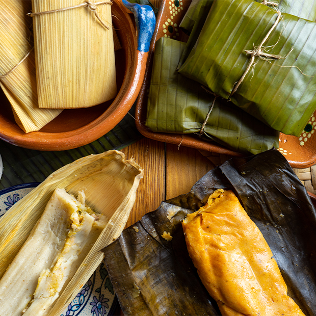 cuban style tamales before and after being wrapped in corn husk
