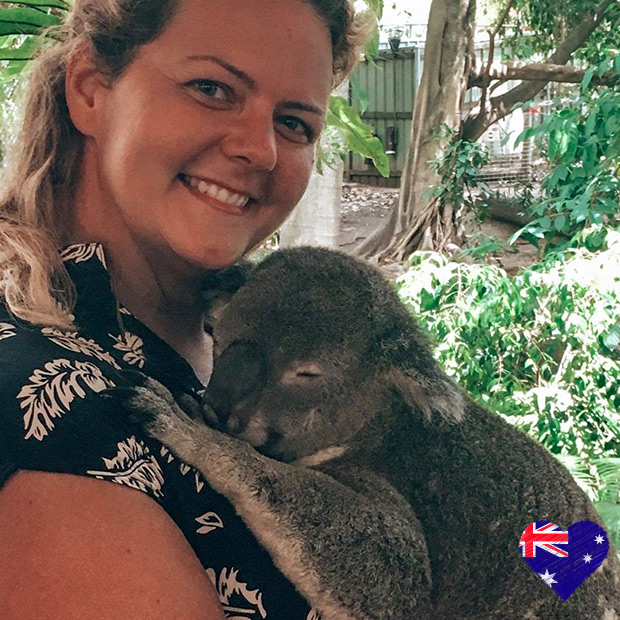 Flight Centre staff with koala bear