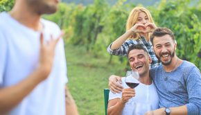 group of friends enjoy tour of tuscan wine region
