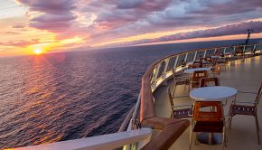 sunset view from a cruise ship balcony
