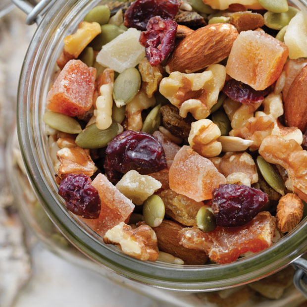 close up of nuts and seeds trail mix