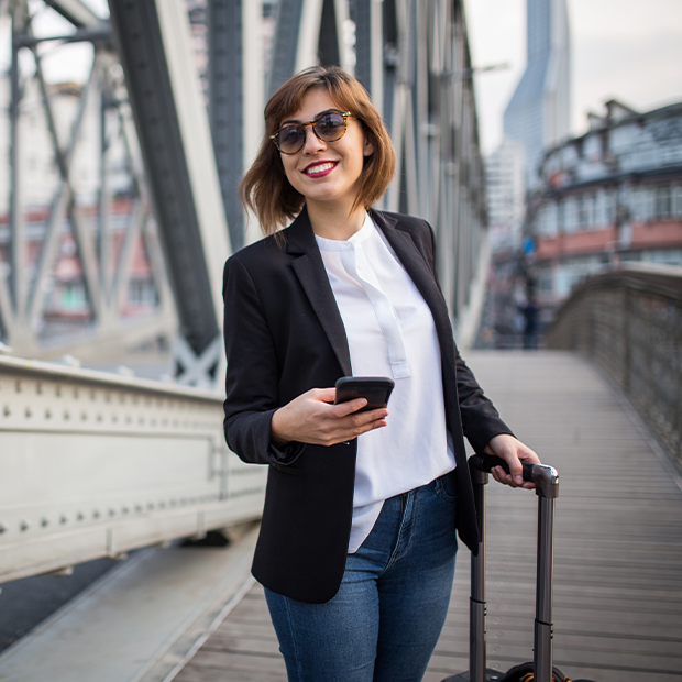 a business traveller explores a busy city