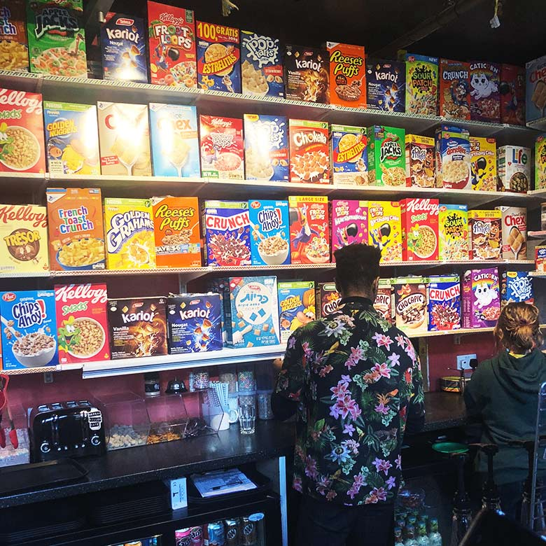 wall of nostalgic breakfast cereals