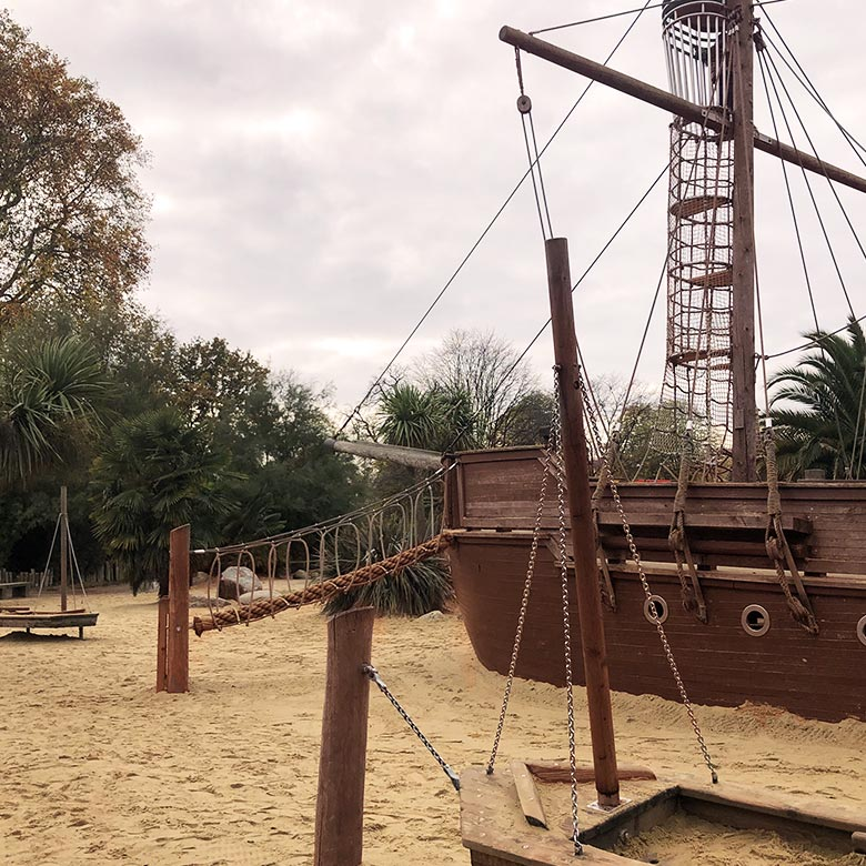 outdoor playground in london shaped like a pirate ship