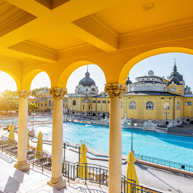 Overlooking Széchenyi Baths in Budapest