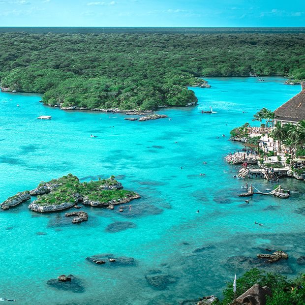 aerial view of little islets in xcaret mexico
