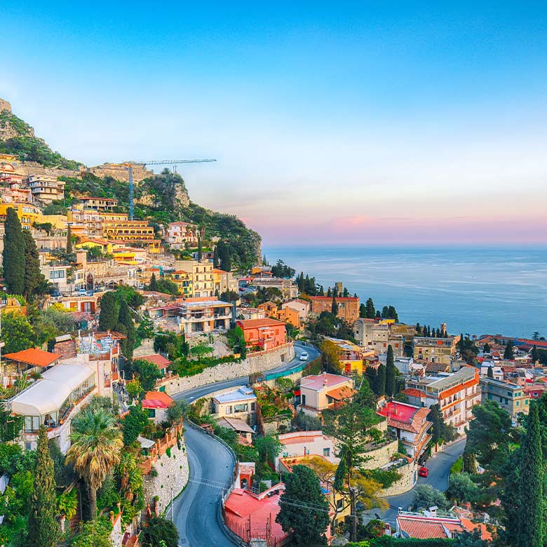 view of the hillside in taormina, italy