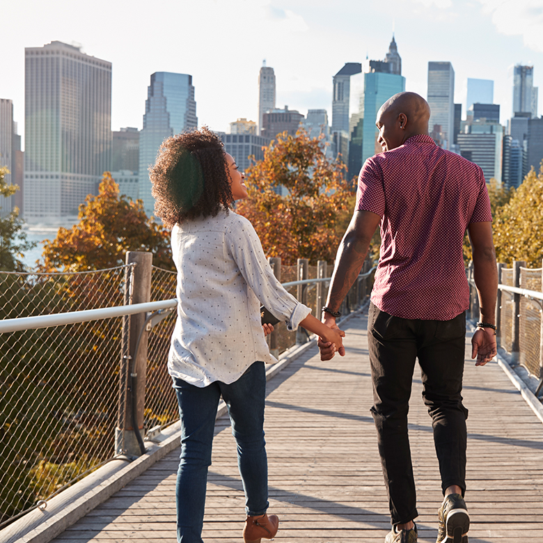 Couple enjoying a walk in the city