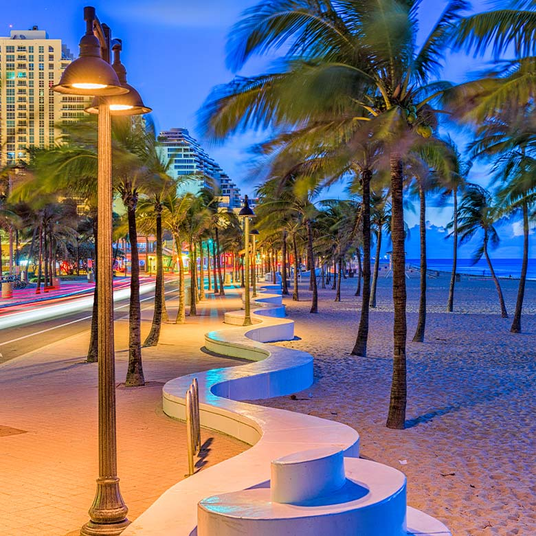 fort lauderdale beach front in evening