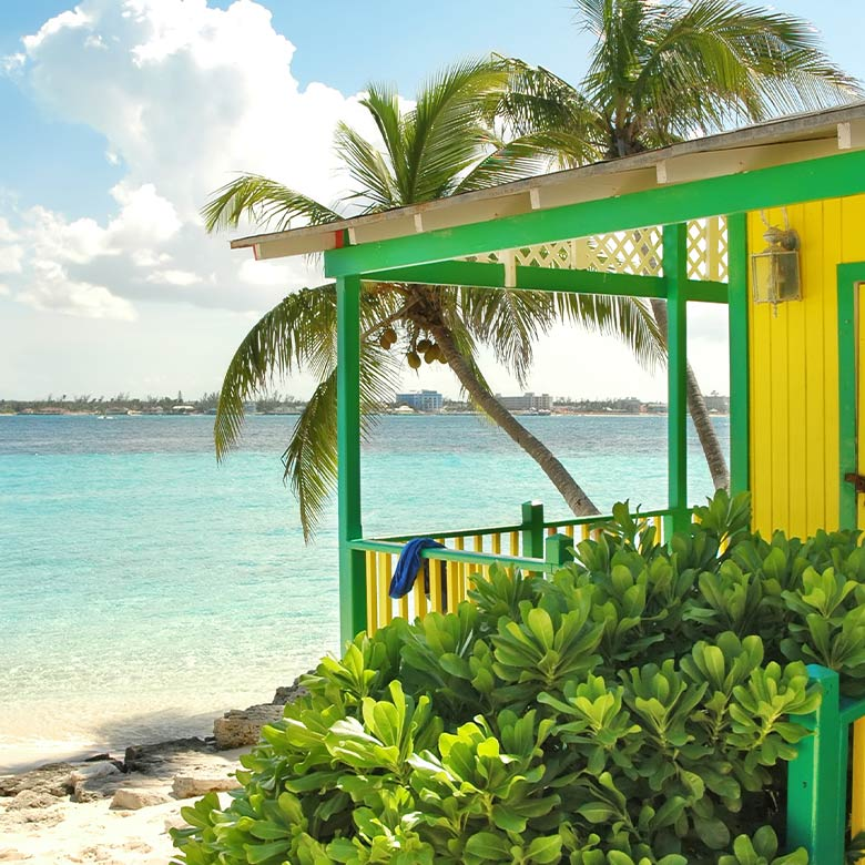colourful beach front porch in nassau bahamas