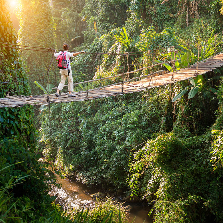 Man walking on a rope bridge over a river in the jungle