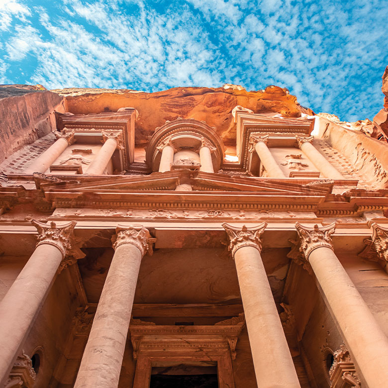 The front of a building in Petra Jordan
