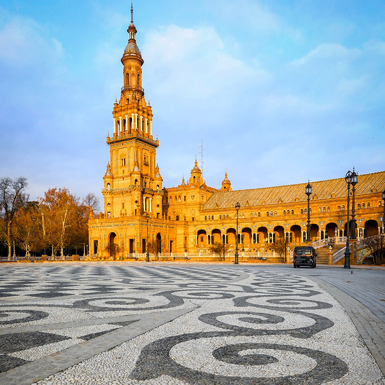 The Plaza de Espana in Seville, Spain
