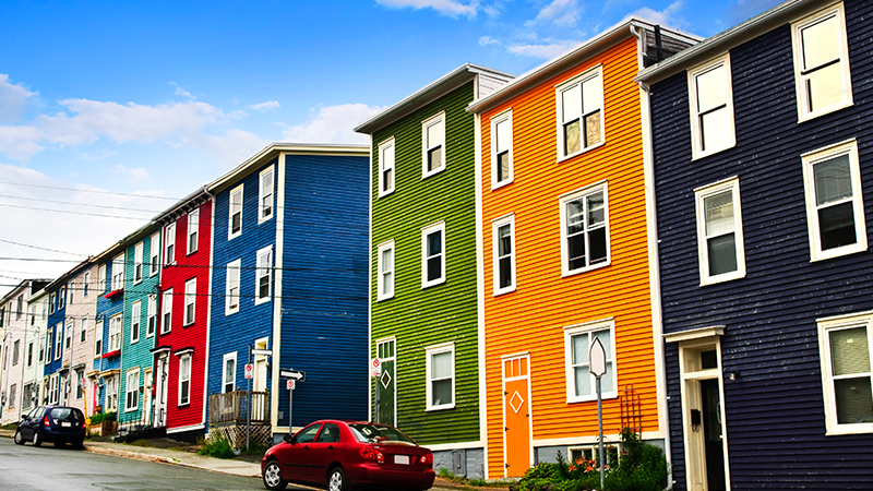 colourful houses along jelly bean row in st johns newfoundland