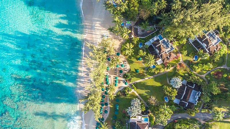 aerial view of coral reef club beach and resort